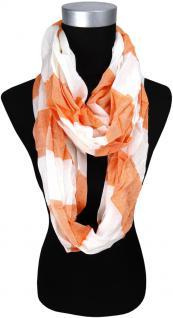 TigerTie Loop Schal in orange weiss Uni gemustert - 180 x 50 cm - Rundschal