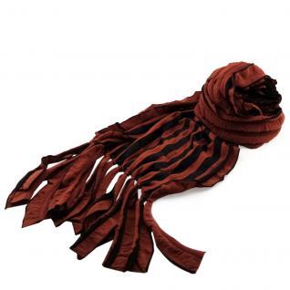 Schal Lamellenschal braun kupfer schwarz gestreift mit Fransen - Gr. 160 x 35 cm