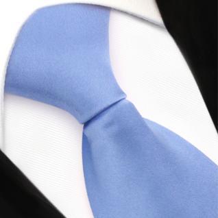 TigerTie Security Satin Seidenkrawatte in blau hellblau uni mit Gummizug - Vorschau 2