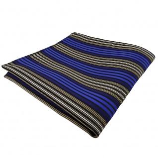 TigerTie Einstecktuch blau braun schwarz silber gestreift - Tuch Polyester