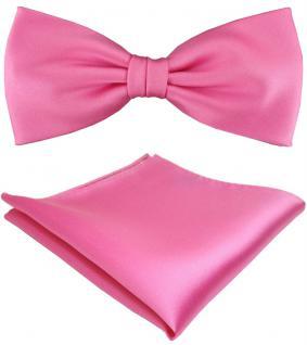 TigerTie Satin Fliege + Einstecktuch in rosa erikaviolett pink Uni + Geschenkbox