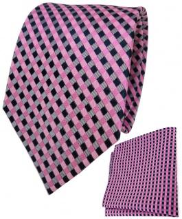 TigerTie Seidenkrawatte + Seideneinstecktuch in rosa pink grau royal kariert