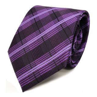 TigerTie Designer Krawatte lila violett flieder schwarz gestreift - Binder