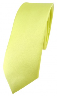 schmale TigerTie Designer Krawatte in zitronengelb einfarbig Uni - Tie Schlips