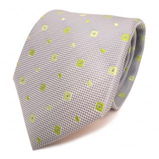 Designer Krawatte grau silber grün hellgrün gemustert - Schlips Binder Tie