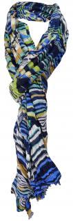 Schal in blau grün türkis weiß gemustert mit kleinen Fransen - 200 x 60 cm