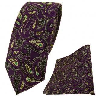 schmale TigerTie Krawatte + Einstecktuch in lila gold grün schwarz Paisley