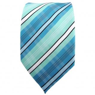 TigerTie Krawatte türkis mint türkisblau weiß schwarz grau gestreift - Binder - Vorschau 2