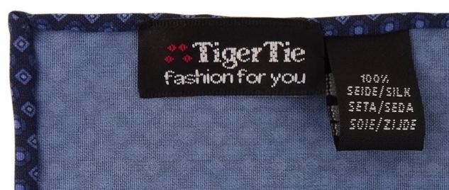 TigerTie handrolliertes Seideneinstecktuch in blau dunkelblau marine gemustert - Vorschau 2