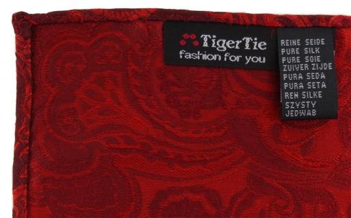 TigerTie Designer Seideneinstecktuch in rot signalrot bordeaux Paisley gemustert - Vorschau 2