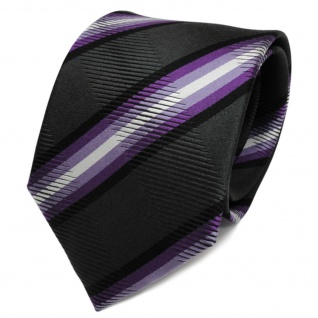 TigerTie Seidenkrawatte lila anthrazit schwarz gestreift - Krawatte Seide