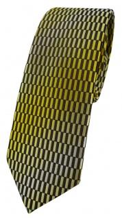 schmale TigerTie Designer Krawatte in gelb gold schwarz silber gemustert - Vorschau 1