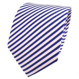 TigerTie Designer Seidenkrawatte blau royal weiß gestreift - Krawatte Seide