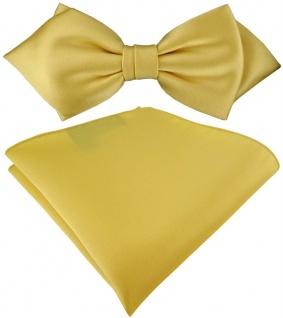 vorgebundene TigerTie Spitzfliege + Einstecktuch in gelbgold Uni einfarbig + Box