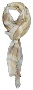Halstuch braun beige grau silber kariert mit kleinen Fransen - Gr. 110 x 110 cm