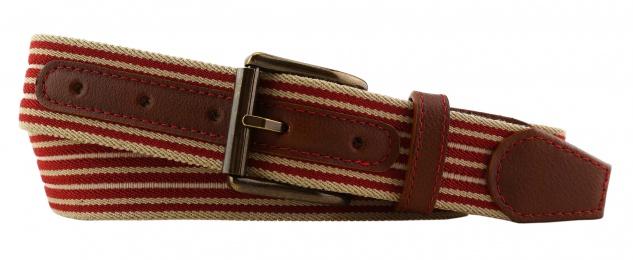TigerTie - Stretchgürtel rot beige gestreift - Bundweite 100 cm