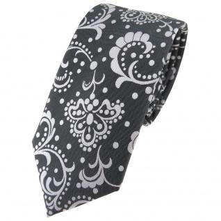 schmale Kinderkrawatte anthrazit silber grau gemustert - Krawatte Marke TigerTie