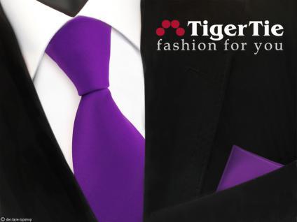 schöne TigerTie Satin Krawatte + Einstecktuch in lila violett Uni - Tie Binder