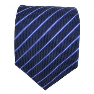 Designer Seidenkrawatte blau dunkelblau marine gestreift - Krawatte Seide Binder - Vorschau 3