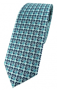 schmale TigerTie Designer Krawatte in türkis mint silber marine gemustert