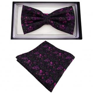 Designer Fliege + Einstecktuch lila anthrazit schwarz gemustert Ornamente