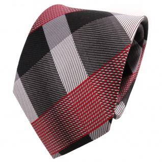 TigerTie Designer Seidenkrawatte grau rot schwarz silber kariert - Krawatte Silk
