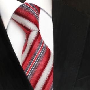 Designer Seidenkrawatte rot weiss grau gestreift - Krawatte Seide Tie Binder - Vorschau 3