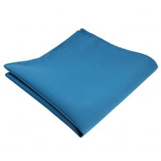 TigerTie Einstecktuch türkis wasserblau türkisblau Uni Rips einfarbig Polyester