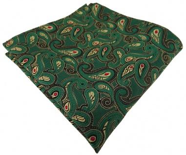 TigerTie Einstecktuch in grün rot gold schwarz Paisley gemustert - Gr. 25x25 cm