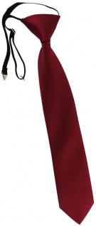 TigerTie Kinderkrawatte in bordeaux Uni - Krawatte vorgebunden mit Gummizug