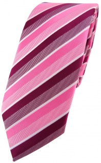 schmale TigerTie Designer Krawatte in rosa pink magenta fuchsia weiß gestreift