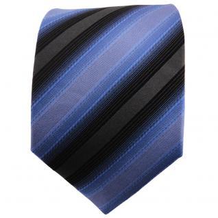 TigerTie Designer Seidenkrawatte fernblau blau anthrazit schwarz gestreift - Vorschau 2
