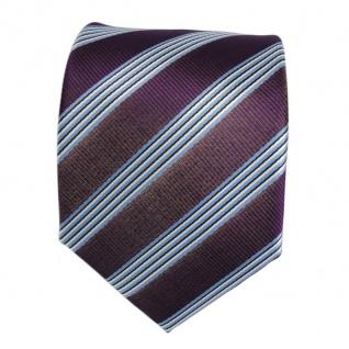 Krawatte - Schlips Binder lila violett blau schwarz weiss gestreift - Tie - Vorschau 2