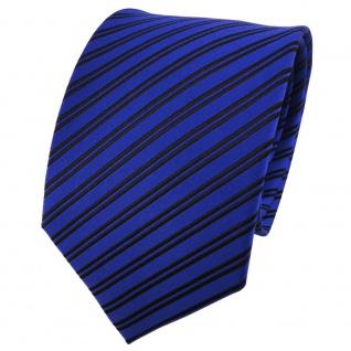 TigerTie Seidenkrawatte blau dunkelblau schwarz gestreift - Krawatte 100% Seide
