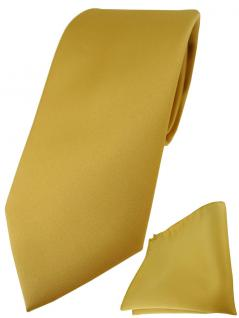 TigerTie Designer Krawatte + TigerTie Einstecktuch in gold einfarbig uni