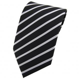 TigerTie Krawatte schwarz silber grau hellgrau gestreift - Tie Binder