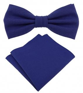 TigerTie Herrenfliege - Einstecktuch in royal Uni - Halsumfang verstellbar - Box