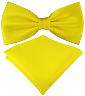 TigerTie Satin Fliege + TigerTie Einstecktuch in gelb Uni Einfarbig + Box