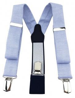 TigerTie Unisex Hosenträger Pique blau-weiss - Y-Form mit 3 extra starken Clips