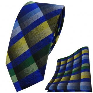 schmale TigerTie Krawatte + Einstecktuch blau grün grau gelb kariert