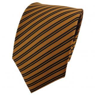 TigerTie Designer Seidenkrawatte gold schwarz gestreift - Krawatte 100% Seide