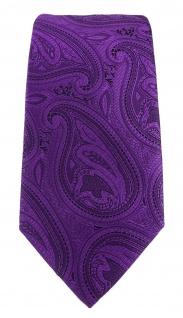 TigerTie Designer Krawatte in lila schwarz Paisley gemustert - Vorschau 2