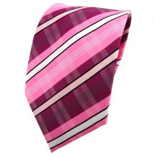 TigerTie Krawatte lila violett rosa pink weiß schwarz grau gestreift - Binder