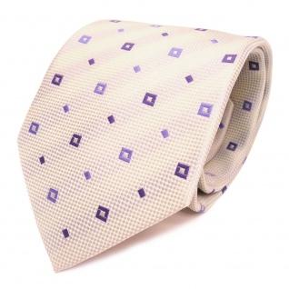 Designer Krawatte elfenbein beige lila violett gemustert - Schlips Binder Tie