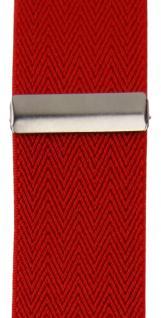 breiter TigerTie Herren Hosenträger mit 4 Clips in X-Form - Farbe rot - Vorschau 4