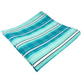 Einstecktuch türkis mint türkisblau weiß schwarz grau gestreift - Tuch Polyester