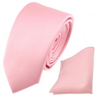 schmale TigerTie Satin Krawatte + Einstecktuch rosa Uni - Schlips