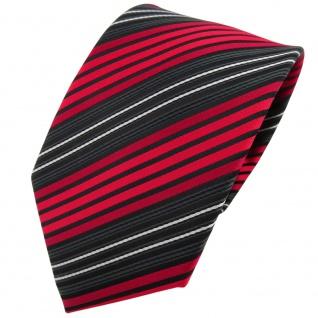 TigerTie Krawatte rot anthrazit schwarz silber gestreift - Binder Tie