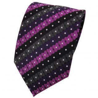 TigerTie Designer Krawatte lila schwarz anthrazit silber gestreift - Binder Tie