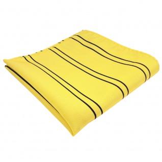TigerTie Einstecktuch in gelb goldgelb dunkelblau gestreift - Tuch Polyester